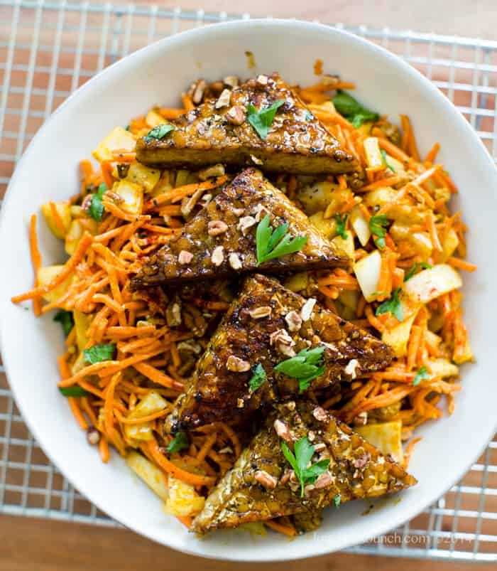 Easy Curried Carrot Slaw With Smoky Maple Tempeh Triangles