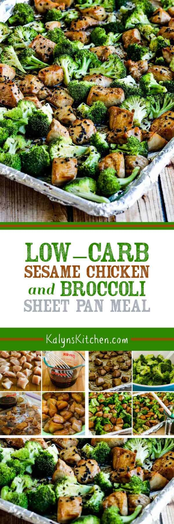 Low-Carb Sesame Chicken and Broccoli Sheet Pan Meal found on KalynsKitchen.com