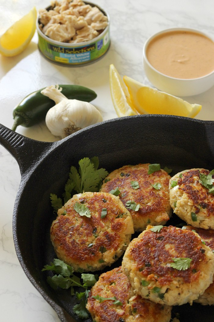 Spicy Tuna Cakes made with Jalapenos and Greek yogurt