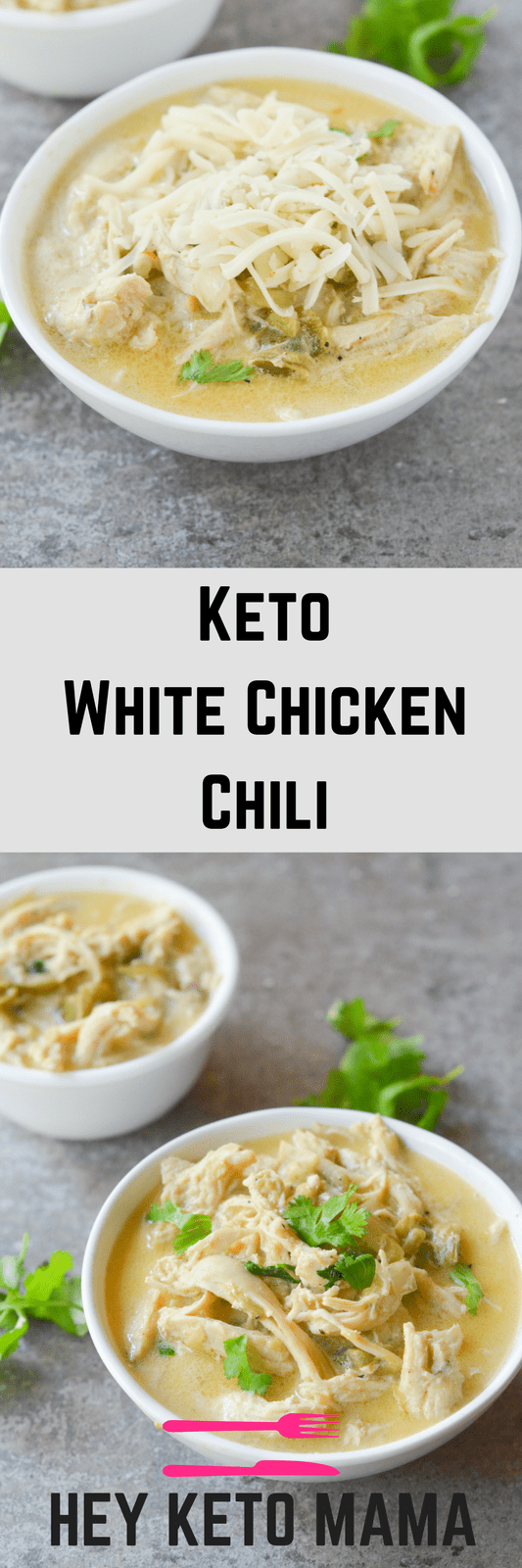 This Keto White Chicken Chili is an amazing comfort food for the changing seasons. It's filling, tasty and can easily be a crockpot/freezer meal! | heyketomama.com