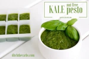 See how to make simple easy nut free kale pesto. Made with olive oil and no nasty seed oils. Read the magic trick and why you might want to add some butter to the mix? #lowcarb #lchf #sugarfree | ditchthecarbs.com