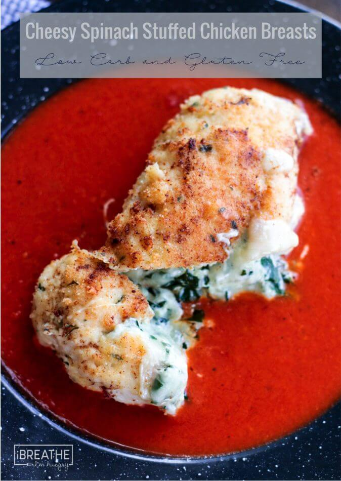Golden brown breaded chicken wrapped around oozy cheese and healthy spinach - the perfect keto dinner!