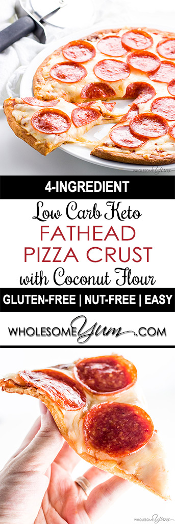 Fathead Pizza Crust Recipe (Low Carb, Keto, Gluten-free, Nut-free) - 4 Ingredients - This low carb keto Fathead pizza crust recipe with coconut flour is so easy with only 4 ingredients! It's nut-free and gluten-free, too.
