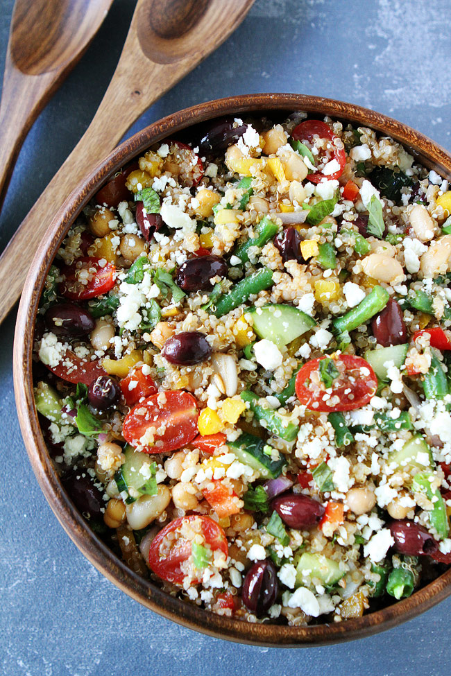 Mediterranean Salad with Quinoa in Serving Bowl