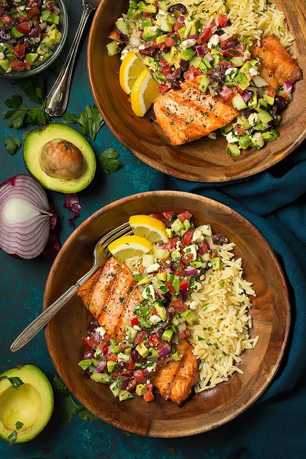 Grilled Salmon with Avocado Greek Salsa and Orzo | Cooking Classy
