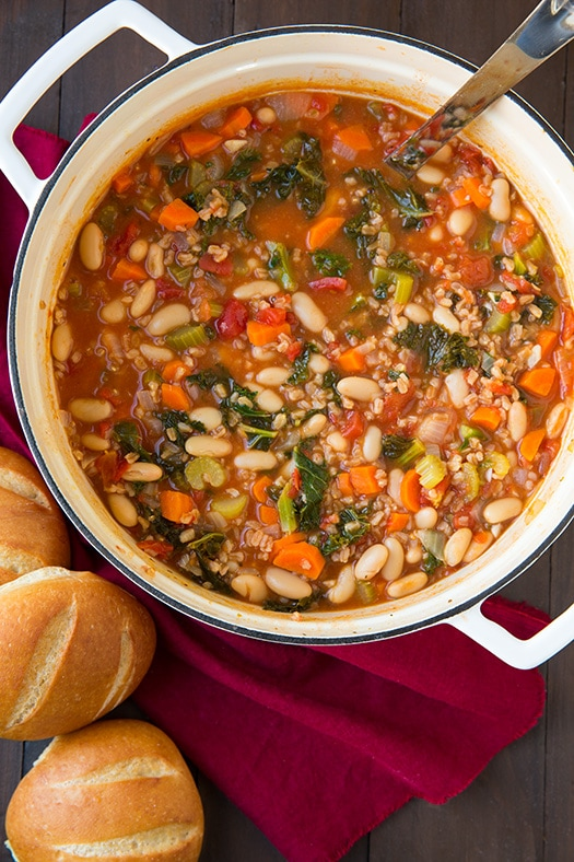 kale cannillini and farro stew