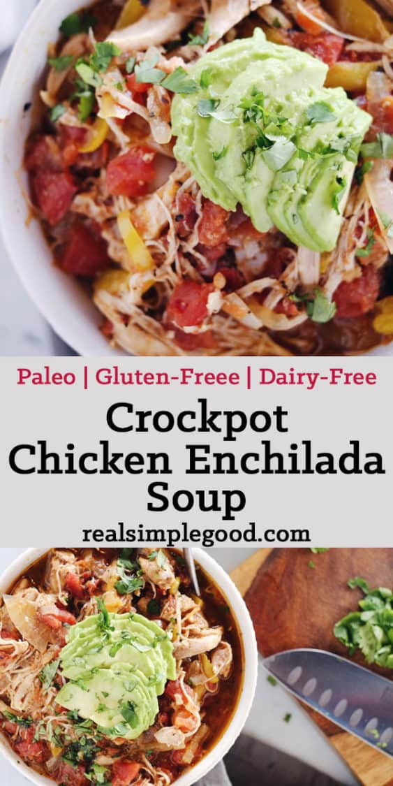 Crockpot Chicken Enchilada Soup long pin with text