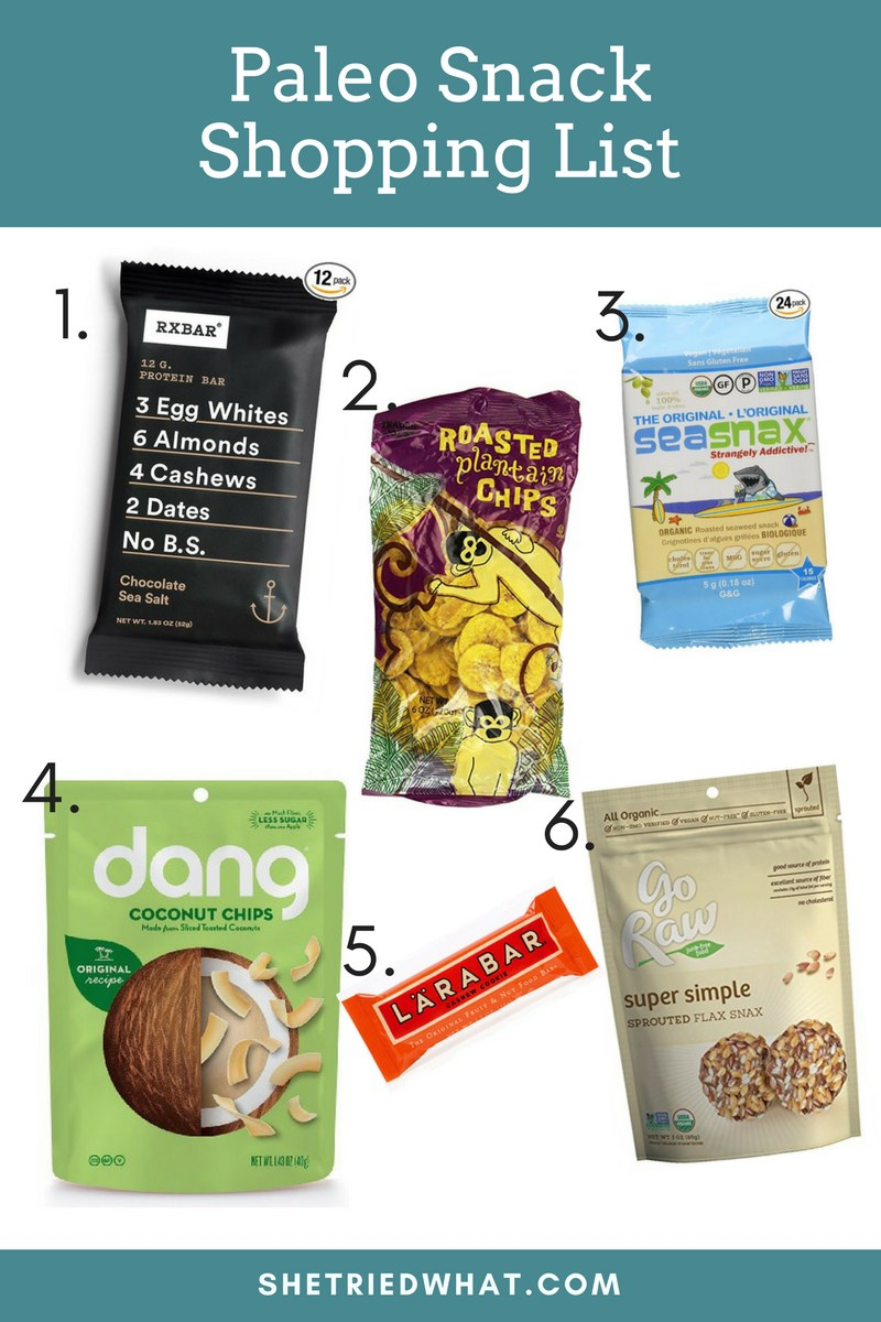 Paleo Snacks Shopping List Ideas