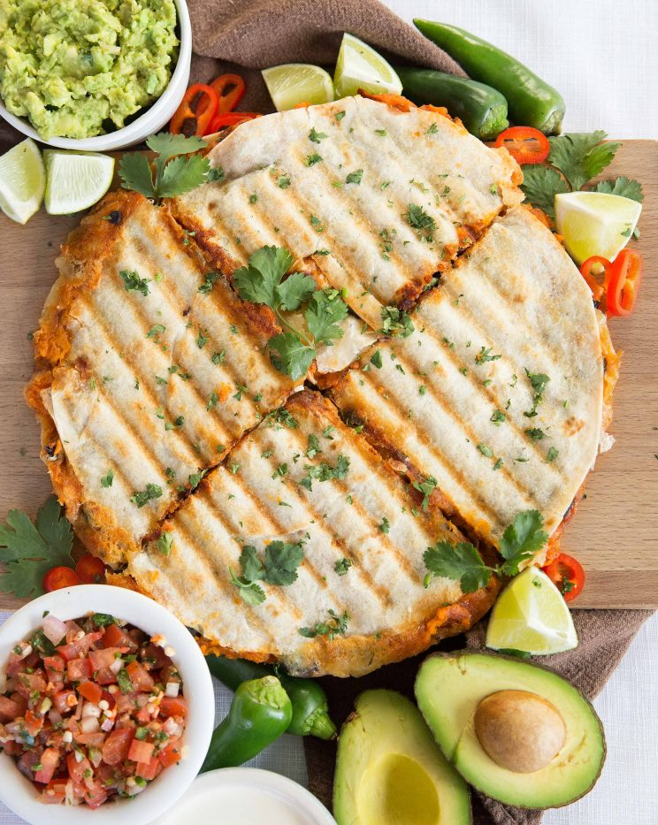 Roasted Sweet Potato and Black Bean Quesadillas with Guacamole and Salsa