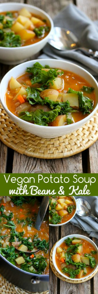 Vegan Potato Soup with Beans and Kale…You probably have everything in your fridge and pantry to make this delicious, healthy soup recipe! Great for busy nights. 211 calories and 4 Weight Watchers Freestyle SP #vegan