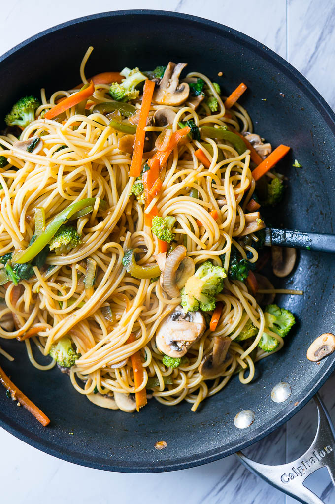 15 Minute Vegetable Lo Mein. Meatless, full of your favorite veggies, and delicious enough to be take-out, you'll love this super quick and easy weeknight dinner!