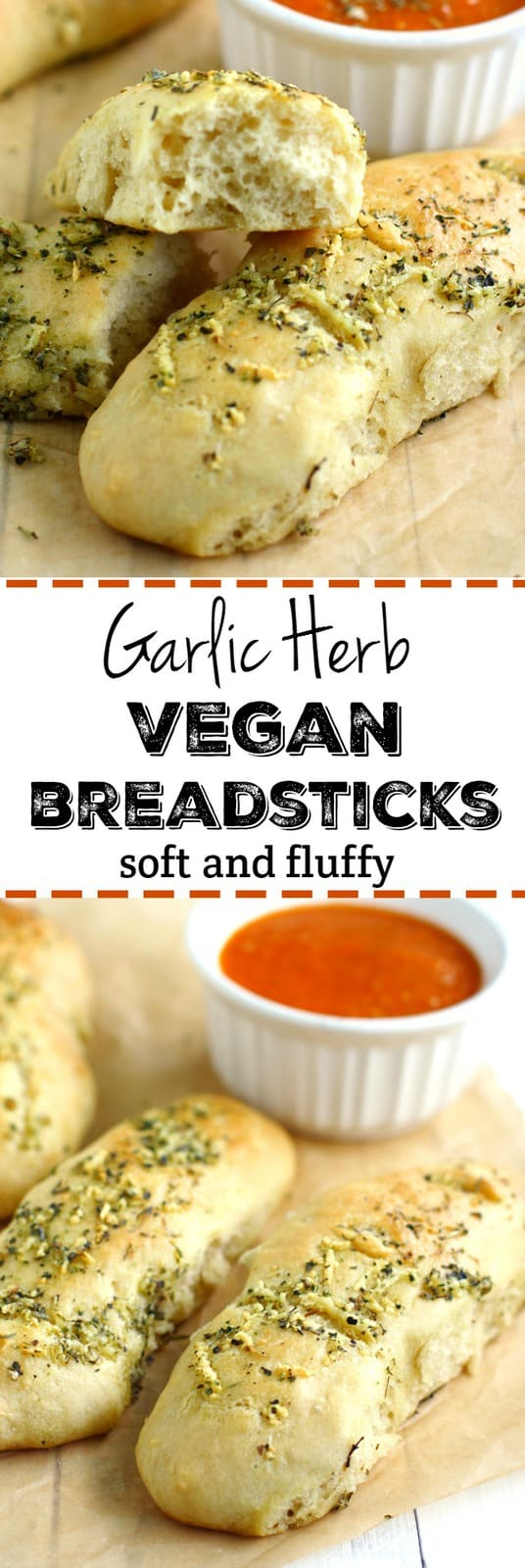 These soft and fluffy vegan garlic herb breadsticks are easy to make in a hurry! They are just right with pasta or soup and salad. A family favorite! #vegan #dairyfree