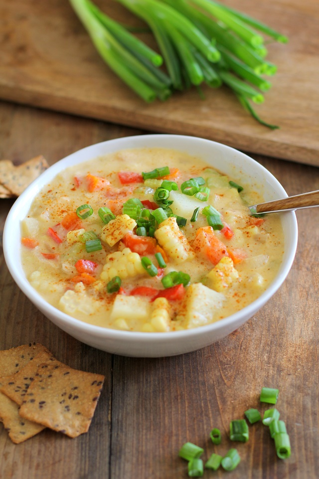 Vegan Corn Chowder - a lightened up, healthy version of the classic soup | TheRoastedRoot.net #stew #vegetarian #dinner #recipe