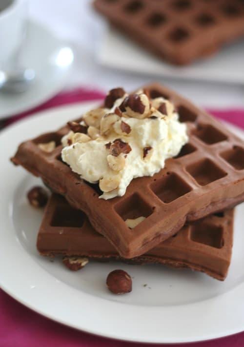 Chocolate Hazelnut Protein Waffles