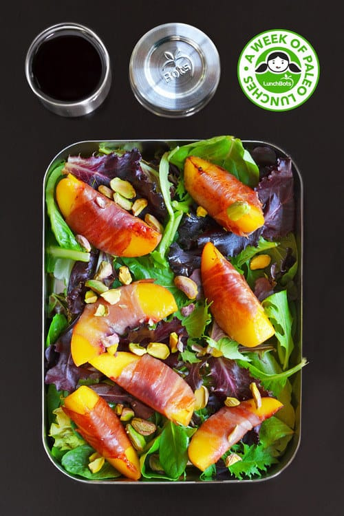Watercress with Seared Prosciutto and Peaches