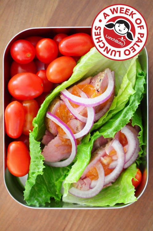 Peachy Pork Lettuce Wraps and Cherry Tomatoes