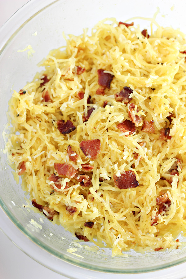 Bacon-Parmesan Spaghetti Squash - Add Bacon and Cheese