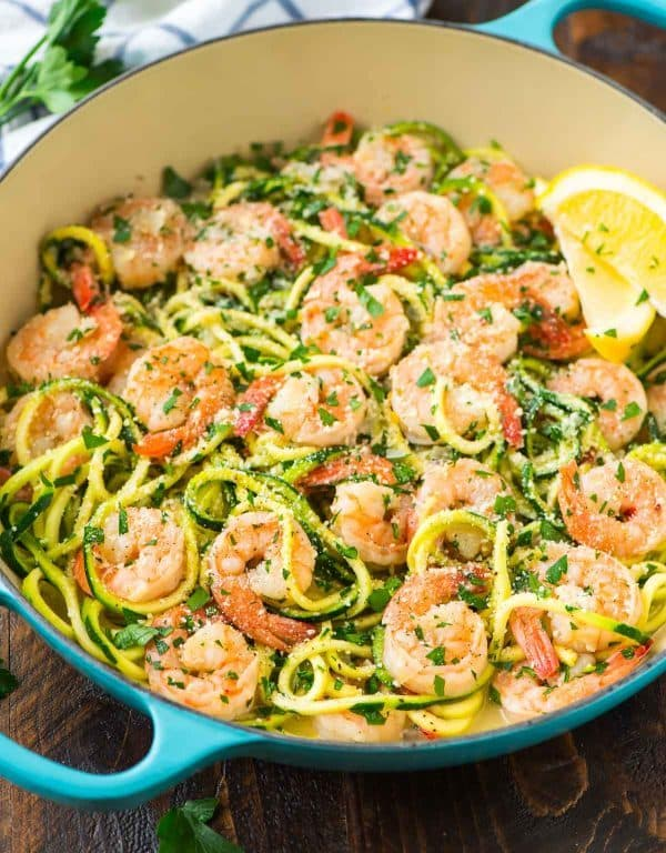 Light Shrimp Scampi recipe without wine. Recipe at wellplated.com | @wellplated