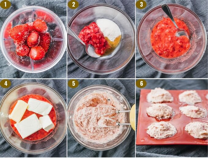 step by step collage showing how to make keto fat bombs with cream cheese
