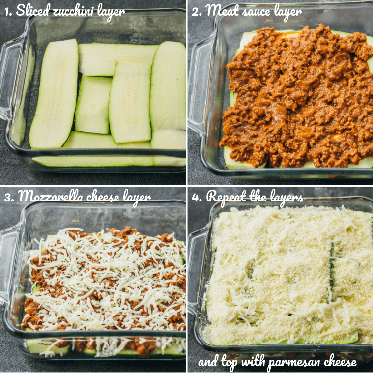 Step by step collage of how to make easy zucchini lasagna showing assembly of lasagna layers including zucchini, meat, and cheese