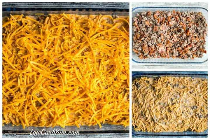 Low carb bacon cheeseburger casserole layers