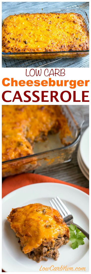 Need a simple ground beef casserole to feed your family or friends? They will love this easy low carb bacon cheeseburger casserole. #lowcarbrecipe #lowcarbcasserole   LowCarbYum.com
