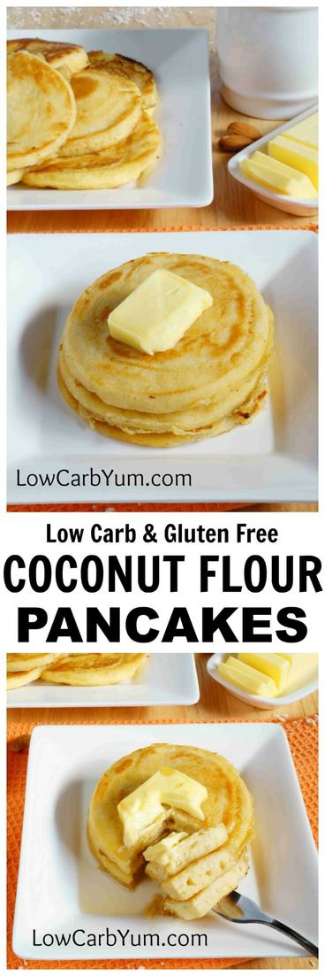 An easy recipe for fluffy gluten free low carb coconut flour pancakes. Such a tasty breakfast treat! Enjoy them with your favorite syrup or eat them plain. #lowcarbpancakes #ketopancakes| LowCarbYum.com