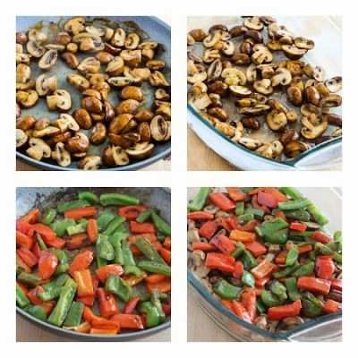Sausage, Peppers, and Mushrooms Low-Carb Cheesy Bake found on KalynsKitchen.com