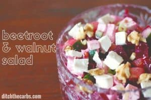 Easy and beautiful - Beetroot And Walnut Salad. Packed with colour, flavour and antioxidants. Serve with the yoghurt dressing. Wheat free, grain free and low carb. | ditchthecarbs.com