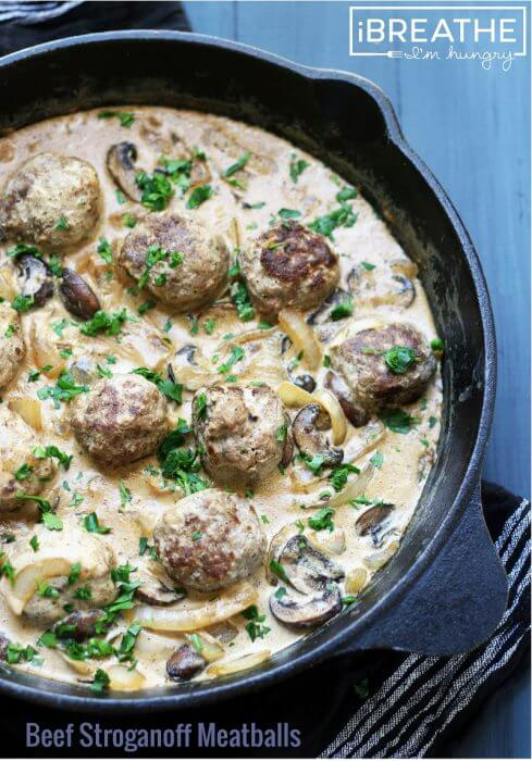 Beef Stroganoff Meatballs - a low carb, gluten free, lchf, keto, and Atkins diet friendly meatball recipe from Mellissa Sevigny of I Breathe Im Hungry