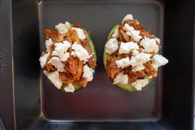 stuffed avocado cheese overhead