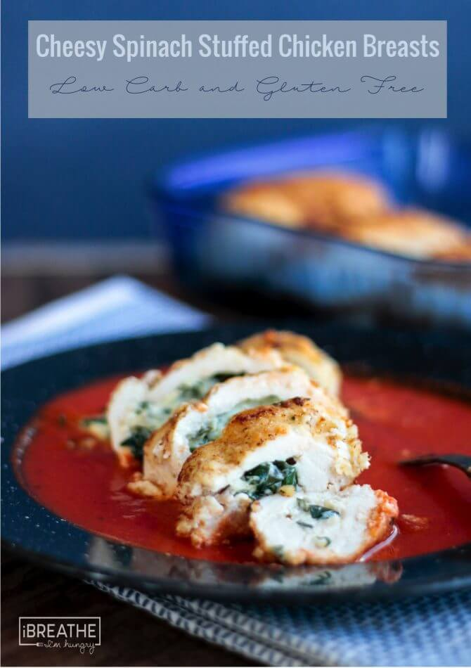 Cheesy Spinach Stuffed Chicken Breasts - low carb, atkins, keto, gluten free