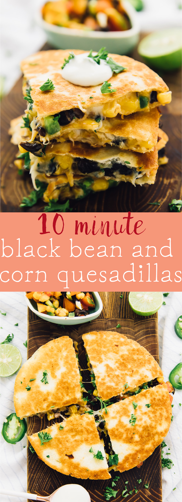 These 10 Minute Black Bean and Corn Quesadillas are so perfect for a quick weeknight dinner! They come together incredibly quick and are so flavourful! via https://jessicainthekitchen.com