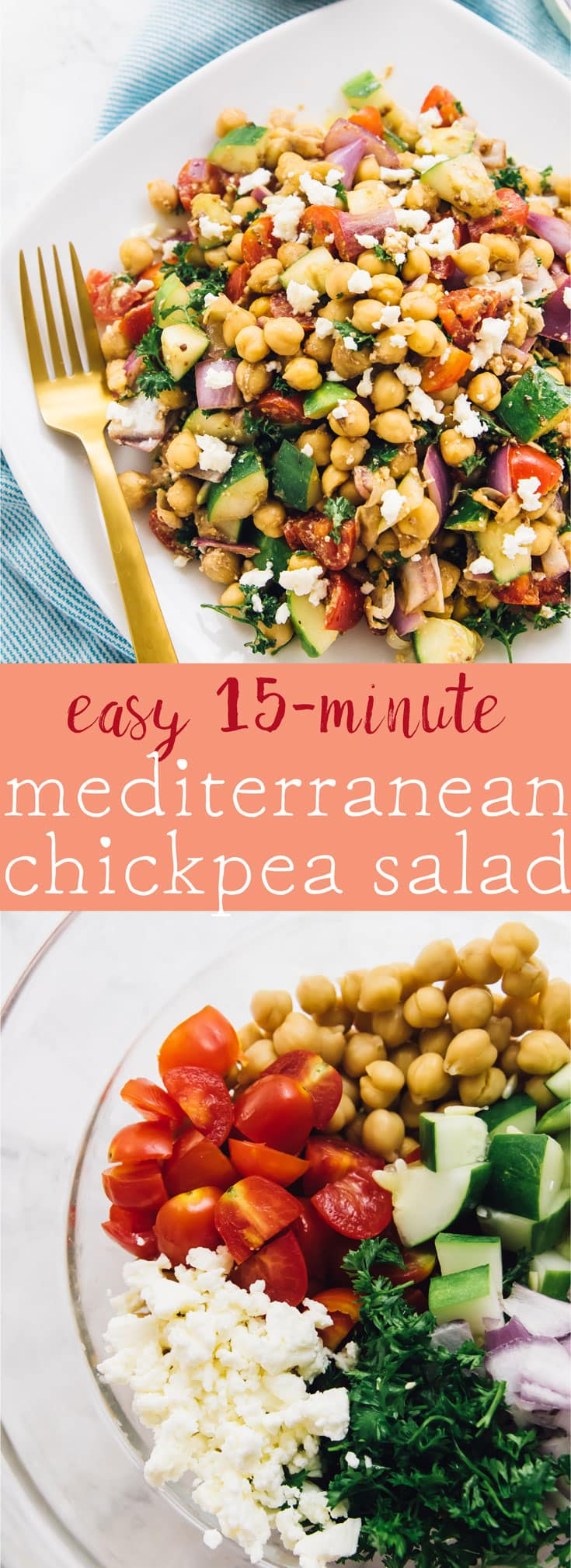 This 15-Minute Mediterranean Chickpea Salad is loaded with delicious and filling veggies, made in just 15 minutes and is perfect for meal prep! via https://jessicainthekitchen.com