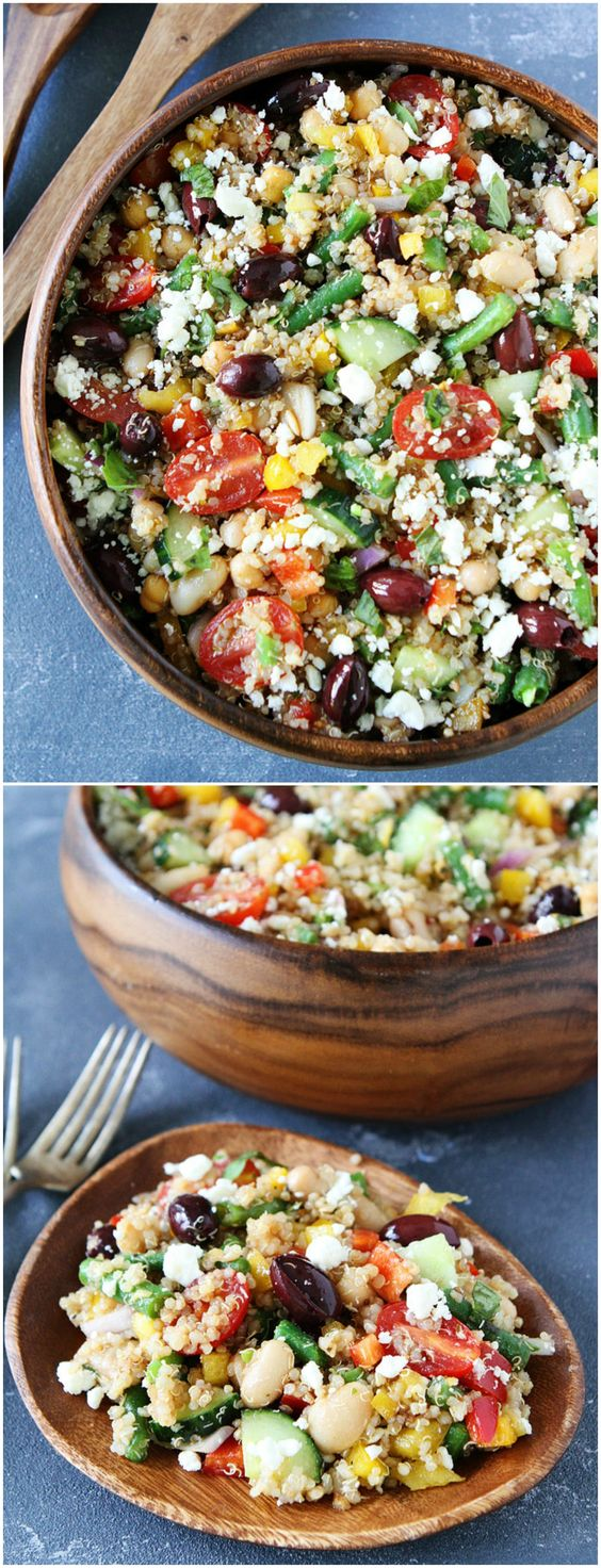 Mediterranean Three Bean Quinoa Salad – this protein-packed Mediterranean salad is full of flavor and great served as a main dish or side dish. Visit twopeasandtheirpod.com for more simple, fresh, and family friendly meals. #quinoa #healthy #heathyeating #healthyrecipes