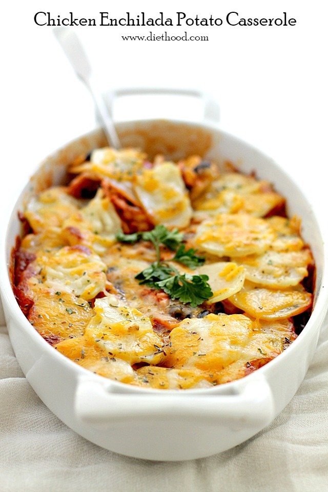 Chicken Enchilada Potato Casserole   www.diethood.com   A delicious layer of chicken, corn and black beans mixed in a beautiful enchilada sauce and topped with a layer of thin sliced potatoes.