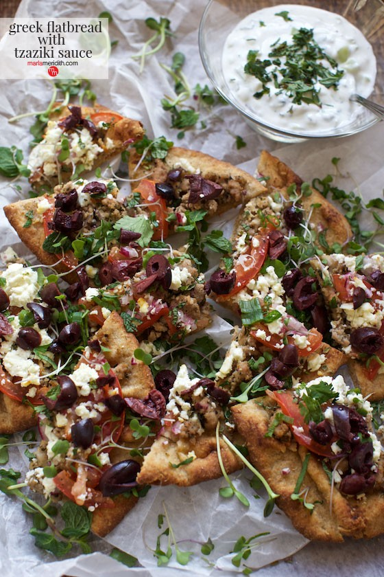 Greek Flatbread with Tzaziki Sauce, great for Super Bowl parties! MarlaMeridith.com
