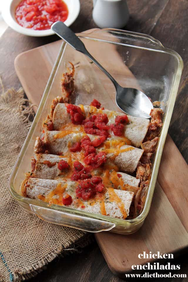 Chicken Enchiladas   www.diethood.com   Rolled tortillas loaded with chicken, tomatoes and a creamy, cheesy sauce   #recipe #dinner #tacos #enchiladas