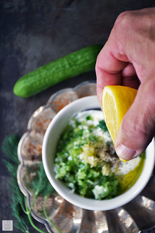 Add lemon to the Tzatziki Sauce