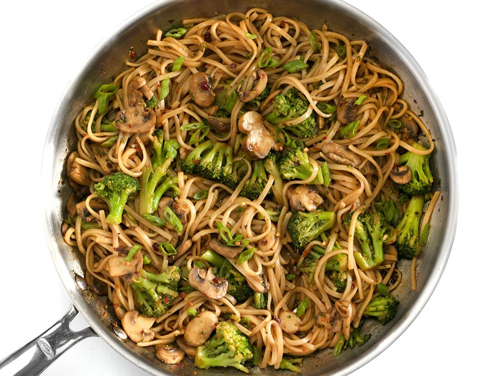 Finished Mushroom Broccoli Stir Fry Noodles