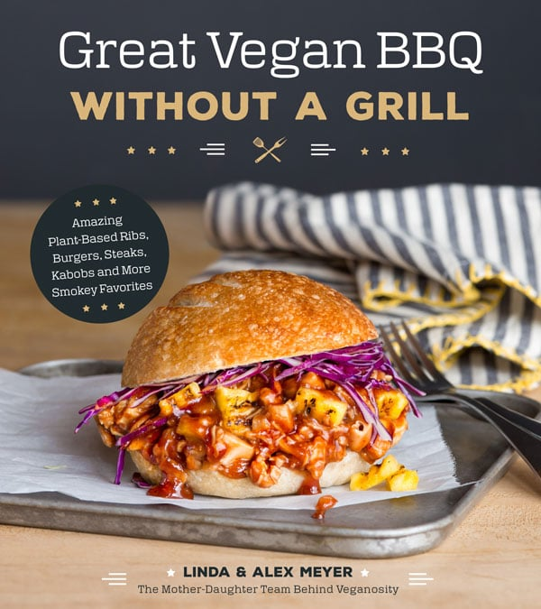 Book cover for Great Vegan BBQ Without a Grill with a pulled BBQ Sandwich on a silver tray with a fork and a blue striped napkin with yellow trim
