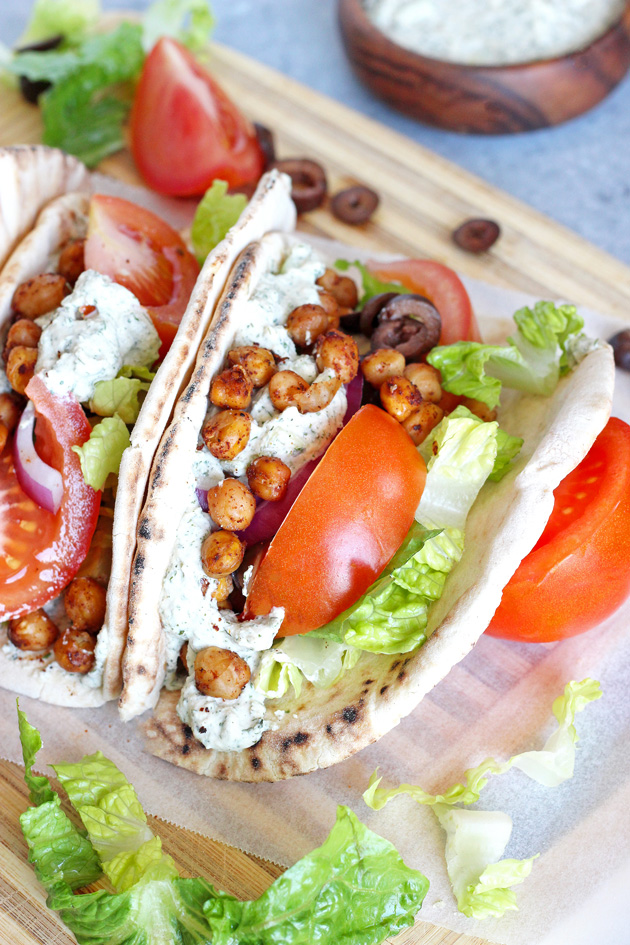 Street Style Vegan Gyros - These delectably delicious gyros are an easy win for the big game. Get messy and dig in! NeuroticMommy.com #vegan #healthy #superbowl