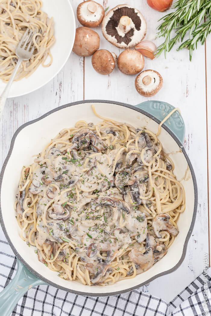 Creamy Mushroom Pasta - this amazing vegan meal is all made in one pot. No muss, no fuss, dinner is ready in 20 minutes! | click for the recipe