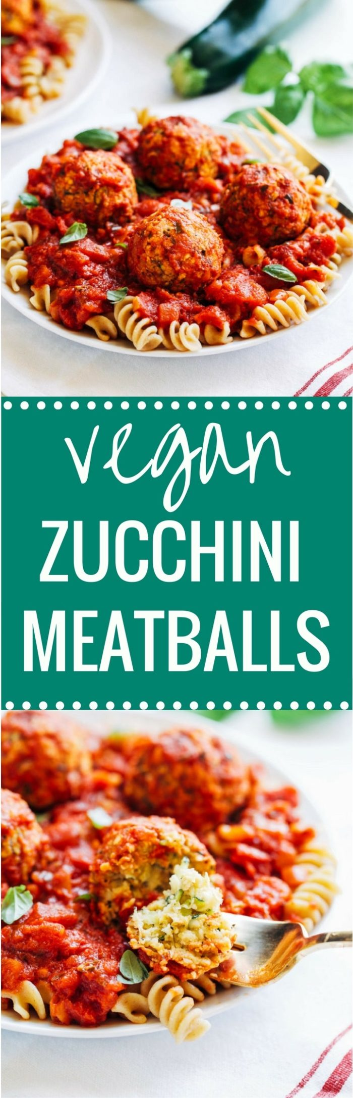 Vegan Zucchini 'Meatballs' - less than 10 ingredients and 20 minutes to make! Each serving offers 25 grams of plant-based protein! (vegan + gluten-free)