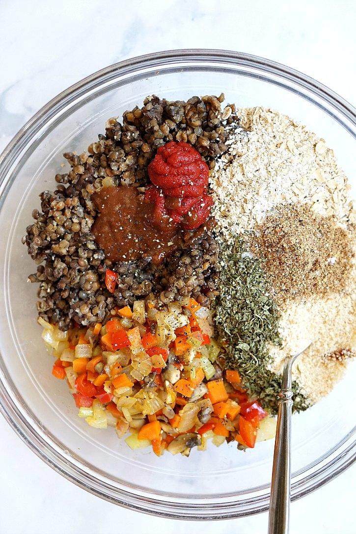 Vegan meatloaf ingredients include veggies, lentils, breadcrumbs, and oats.