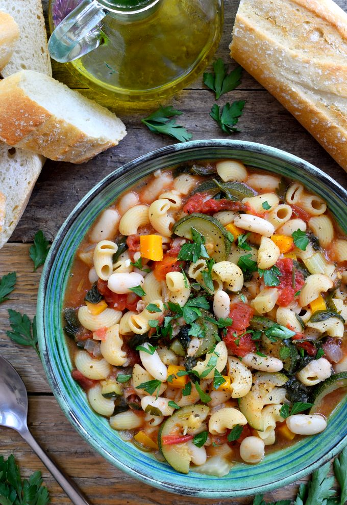 Vegetarian pasta fagioli is a simple, rustic Italian bean and pasta soup that's extremely easy to make and can be on the table in just about 30 minutes. What's fabulous about pasta e fagioli is that it's like two recipes in one – add a bit more stock for a soup and a bit less for a pasta dish! It's also totally vegan!