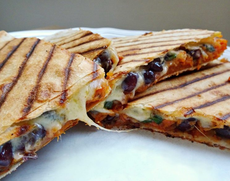 Roasted Sweet Potato and Black Bean Quesadillas with Cheese