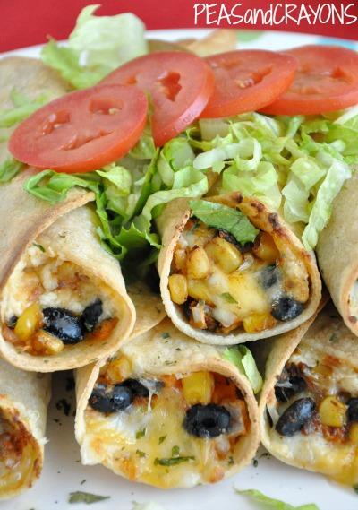 Vegetarian Black Bean + Sweet Potato Flautas