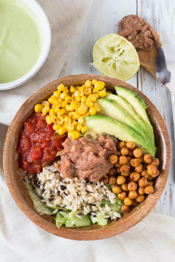 Vegan Wild Rice Burrito Bowl with Cilantro-Lime Avocado Dressing via @ExSloth | ExSloth.com